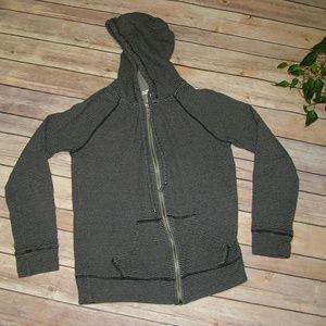 Caslon Striped Zipper Hoodie Grey Black XS